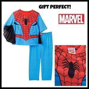 SPIDER MAN SUPER HERO PJS PAJAMAS TOP & BOTTOMS